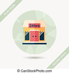 Building convenient store flat icon with long shadow,eps10