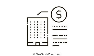 building cost Icon Animation. black building cost animated icon on white background