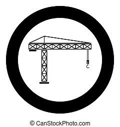 Building crane icon black color in circle or round