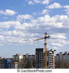 Building crane is constructing