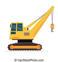 Building Crane on White. Caterpillar. Vector - Building...