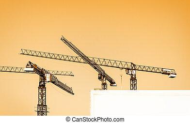 building cranes and billboard