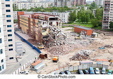 Building demolition for construction of parking for the ...