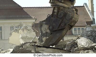 Building Demolition Hydraulic Claw Closeup - Close up...