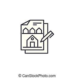 Building design linear icon concept. Building design line vector sign, symbol, illustration.