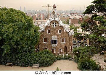 Building designed by Antoni Gaudi in Park Guell, Barcelona Spain