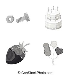 building, dessert and other monochrome icon in cartoon style. confectionery, holiday icons in set collection.