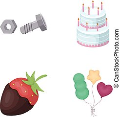 building, dessert and other web icon in cartoon style. confectionery, holiday icons in set collection.