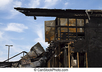 Building Destroyed After Fire