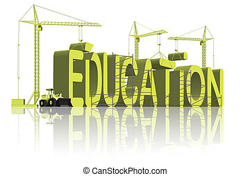 education 3D word composed by three tower cranes in yellow