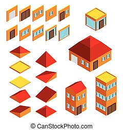 Building elements isometric houses icons vector set