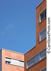 Building exterior concrete and brick construction