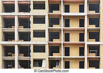 Building exterior view at housing construction time.