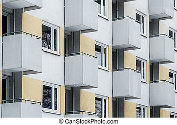 building facade, apartment building exterior -