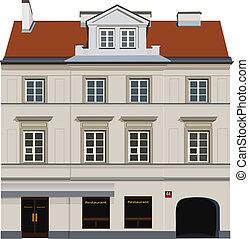 Classic town building facade. Color vector illustration
