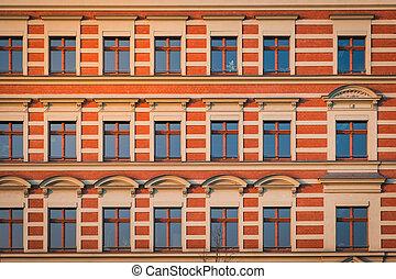 building facade, old residential period building , Berlin -