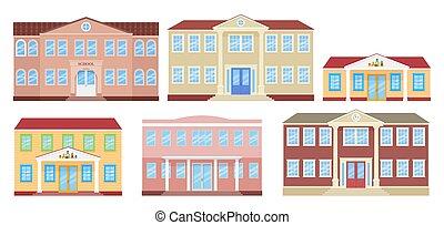 Building facade. Vector illustration. School, university, kindergarten and college.