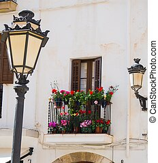 Building facade with beautiful balcony full of flower pots