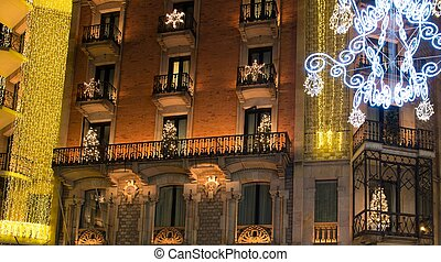 Building facade with Christmas decorations