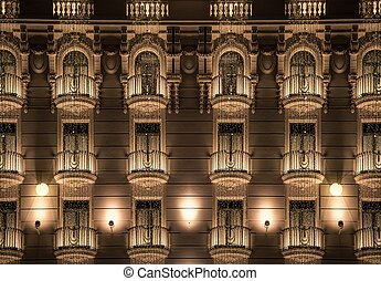 Building facade with shiny decorations