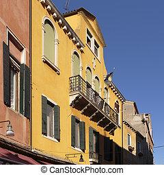 Building facades along Salizada San Pantalon, Venice, Italy
