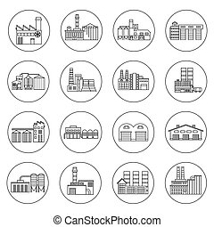 Building Factory Outline Icons