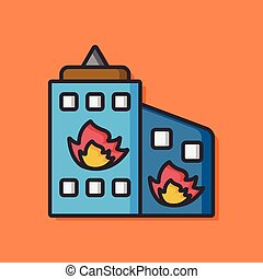 Building Fire vector icon