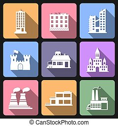 Building flat icons set