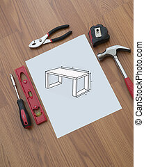 Building furniture with plans and a variety of tools for the DIY project .