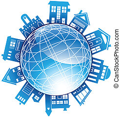Building Globe - Wireframe blue globe with various generic...