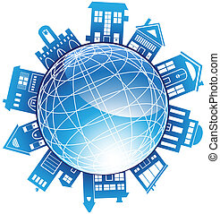 Building Globe - Wireframe blue globe with various generic ...
