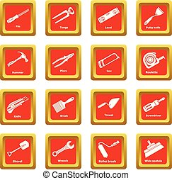 Building hand tool icons set red square vector
