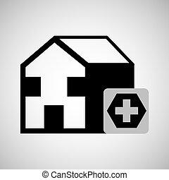 building hospital cross icon graphic