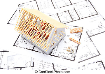 Building house concept - Building the house concept - model...