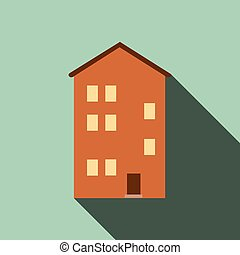 Building house icon with long shadow, Flat design, vector illustration