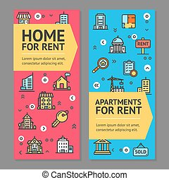 Building House or Home and Apartment for Rent Flyer Banner Posters Card Set. Vector