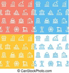 Building House or Home Pattern Background Set. Vector