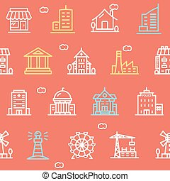 Building House or Home Pattern Background. Vector