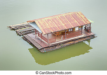 houseboat - building houseboat on the lake in Thailand