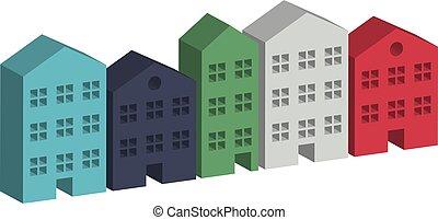 Building housing street in 3D