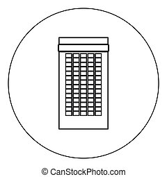 Building icon black color in circle vector illustration isolated