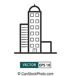 Building icon. Outline style. Vector illustration EPS 10