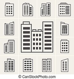 Building Icons illustration set