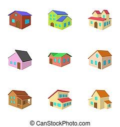 Building icons set, cartoon style