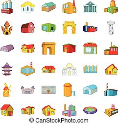 Building icons set, cartoon style - Building icons set....