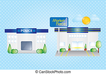 Building Icons Set - Police station, and market place,...
