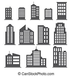 Building icons set. Vector illustration