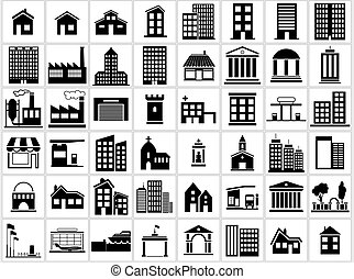 Building Icons Set - Black and White Icon Collection, Vector...