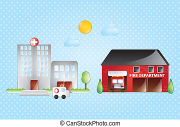 Building Icons Set - Hospital and fire station, with sun and...