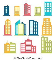 Building icons set in color